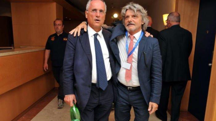 Il presidente della Lazio Lotito e quello della Sampdoria Ferrero