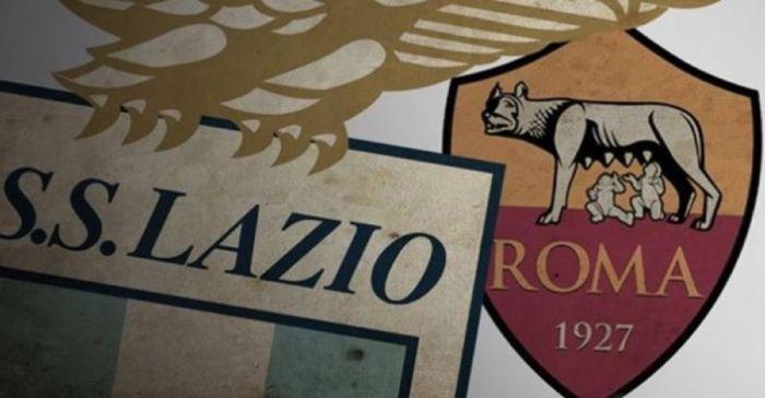 Gli stemmi di Lazio e Roma per il derby della Capitale