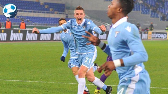 Milinkovic-Savic esulta al gol di Keita in una gara della Lazio