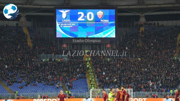 Il tabellone di Lazio Roma 2-0