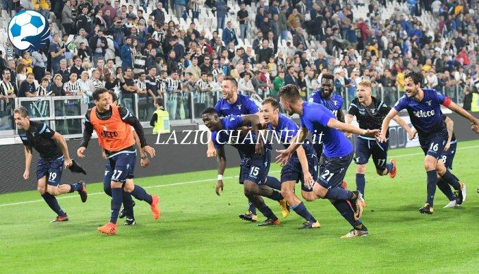 L'esultanza della Lazio all'Allianz Stadium