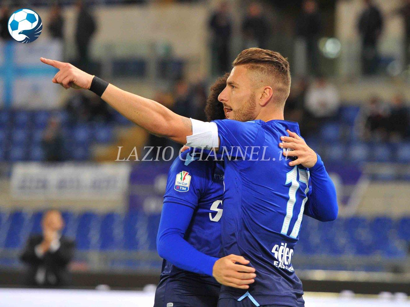Immobile esulta dopo il gol al Cittadella