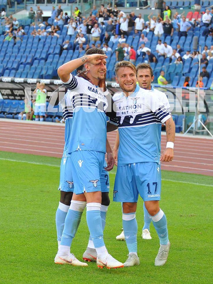 Milinkovic e Immobile esultano in Lazio Genoa